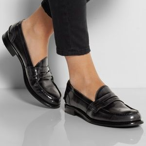Prada Black Patent Leather Penny Loafers